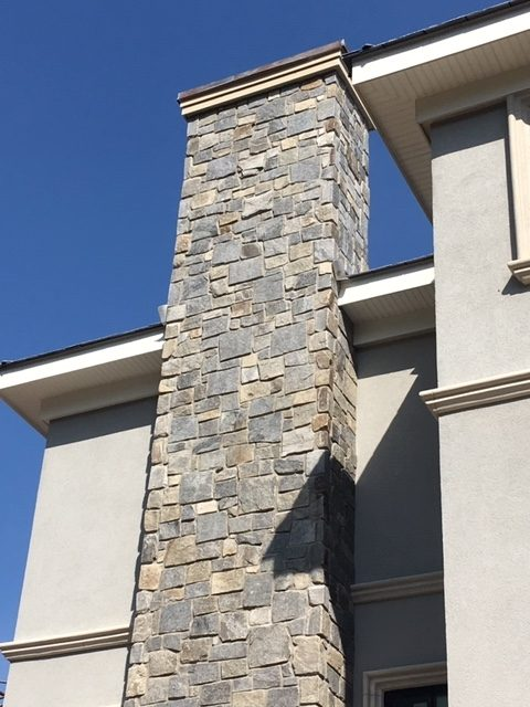 thin veneer stone fireplace exterior house