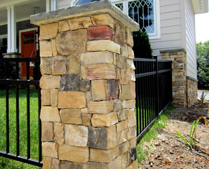 Natural stone veneer home pillar
